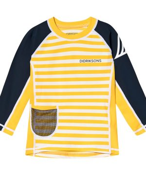Didriksons Surf Långärmad Rashguard Yellow Simple Stripes 90 cm (1,5-2 år)