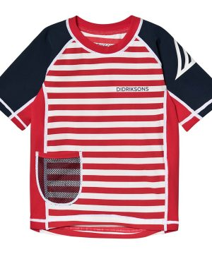Didriksons Surf Rashguard Chili Red Simple Stripes 100 cm (3-4 år)
