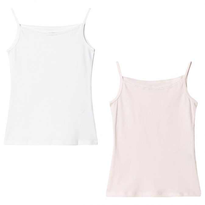 United Colors of Benetton 2-Pack Lace Trim Linne Rosa/Vit L (8-9 år)