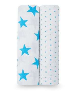 Aden + Anais 2-Pack Fluro Blue Star Classic Swaddles One Size